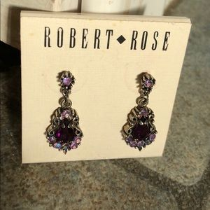 Purple pink crystal earrings